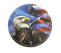 American Flag with Bald Eagle Clock