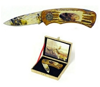 Wildlife Deer Lockback Knife with Gift Box