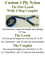 Custom Length Dog Leash With 2 Dog Couplet