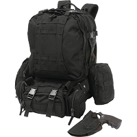 4pc Black Backpack with Concealed Handgun Holster