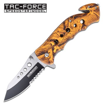 Assisted Opening Orange Camo Hunting Knife