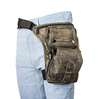 Distressed Brown Thigh Bag with Gun Pocket