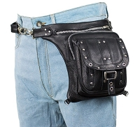 Studded Leather Thigh Bag with Gun Pocket