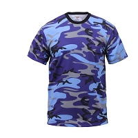 Classic Electric Blue Woodland Camo T-Shirt