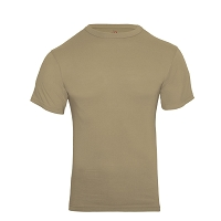 Khaki Solid Color Cotton / Polyester T-Shirt