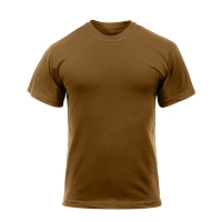 Brown Solid Color Cotton / Polyester T-Shirt