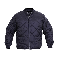 Navy Blue Diamond Nylon Quilted Jacket