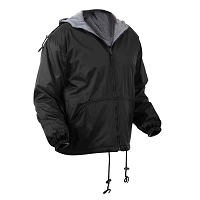 Black Reversible Lined Jacket With Hood