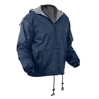 Blue Reversible Lined Jacket With Hood