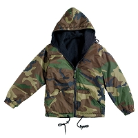 Woodland Camo Reversible Lined Jacket With Hood