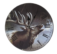 Misty Morning Elk Wall Clock