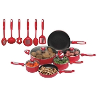 16pc Red Aluminum Cookware Set