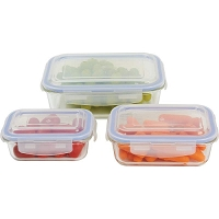 6pc Locking Glass Storage Container Set
