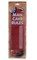 Man Cave Rules Metal Thermometer