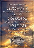Serenity Fishing Prayer Metal Sign