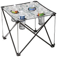 Camo Small Camp Table with Drink Holders