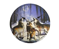 Timber Wolves Howling at Moon Clock