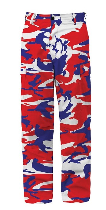 Red White Blue Camo Tactical BDU Pants