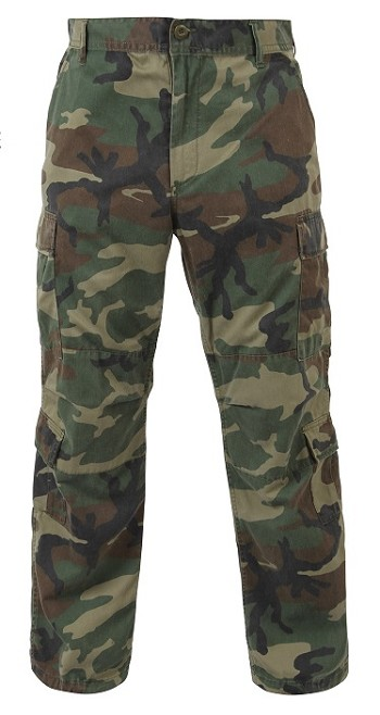 Woodland Camo Fatigue Cargo Pants Adjustable Waist