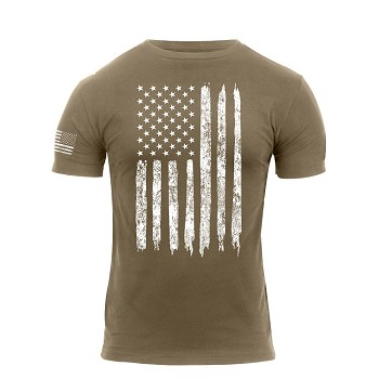 Coyote Brown Distressed US Flag Athletic Fit T-Shirt
