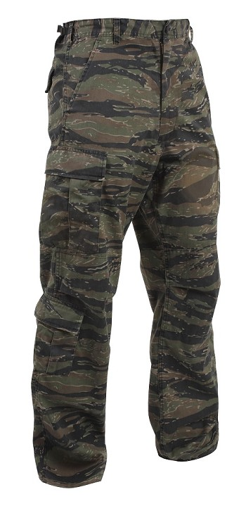Tiger Stripe Camo Fatigue Cargo Pants Adjustable Waist