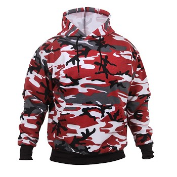 Red Camo Pullover Hooded Sweatshirt