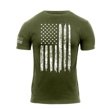 Olive Drab Distressed US Flag Athletic Fit T-Shirt