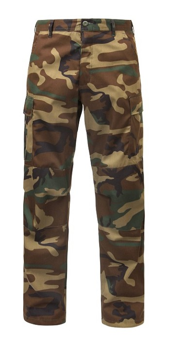 Relaxed Fit Camo Zipper Fly BDU Pants