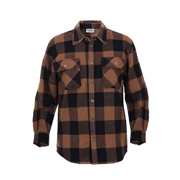Brown Extra Heavyweight Plaid Flannel Shirt