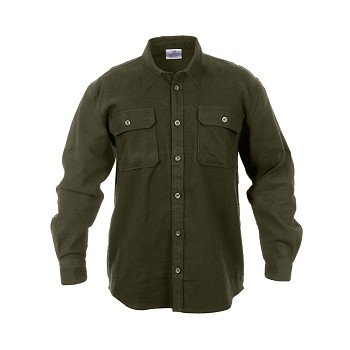 Olive Drab Heavy Weight Solid Flannel Shirt