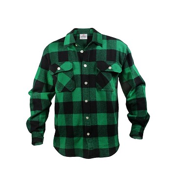 Green Extra Heavyweight Plaid Flannel Shirt