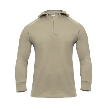 Desert Sand Cold Weather Poly Zip Collar Shirt
