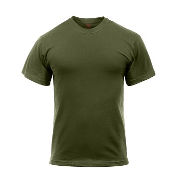 Olive Drab Solid Color Cotton / Polyester T-Shirt