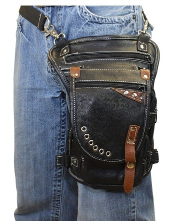 Black/Brown Gun Pocket Leather Thigh Bag