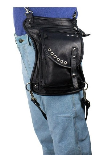 Decorative Leather Thigh Bag with Gun Pocket