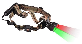 Hunting Headlamp with Red and Green LED Lights