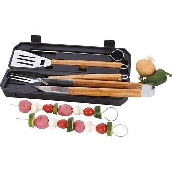 8pc Stainless Steel BBQ Tool Set, Wood Handles