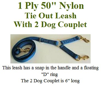 "1 Ply 50"" Nylon Hunting Leash With 2 Dog Coupler"